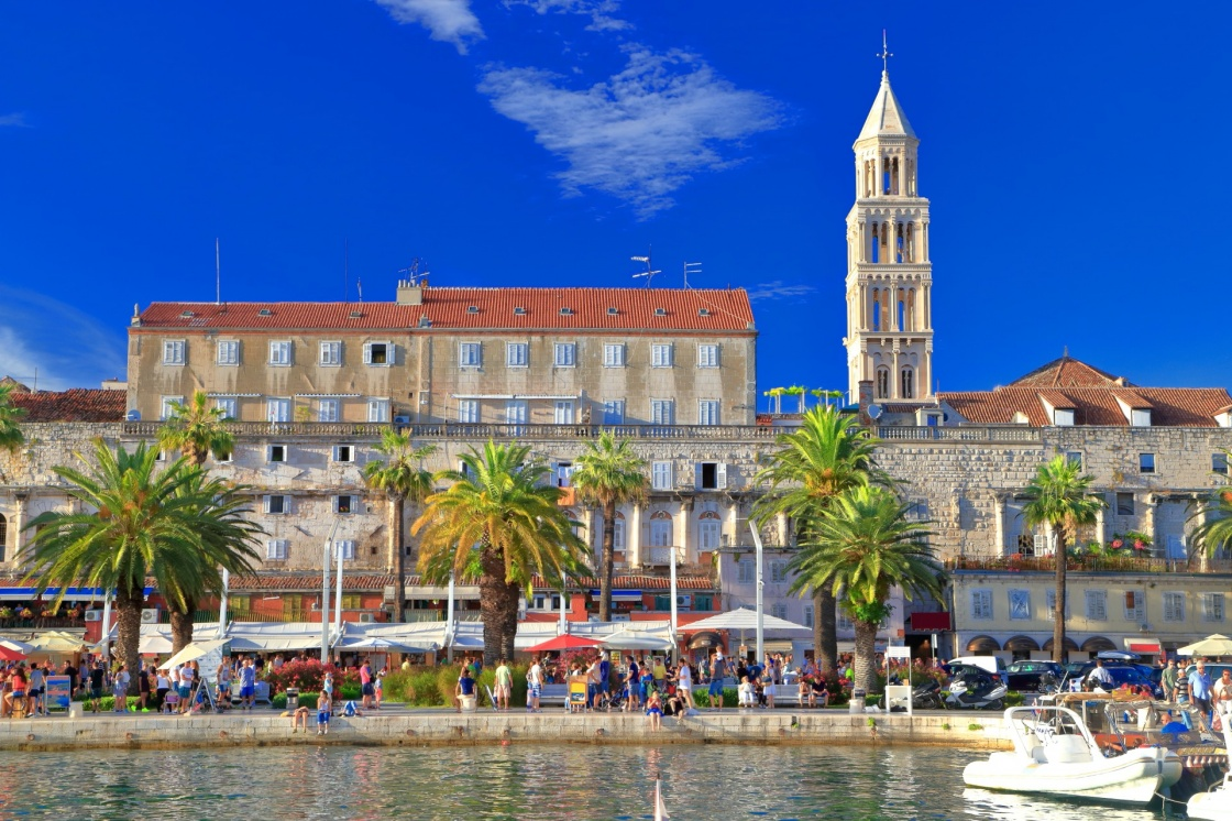 'Venetian church tower and the Palace of Diocletian on the Adriatic sea coast, Split, Croatia' - Spalato